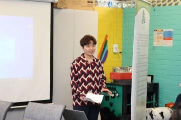 Cyril Jackson student, Fuka Tadaka, presenting on his experience relocating from Japan to Australia.